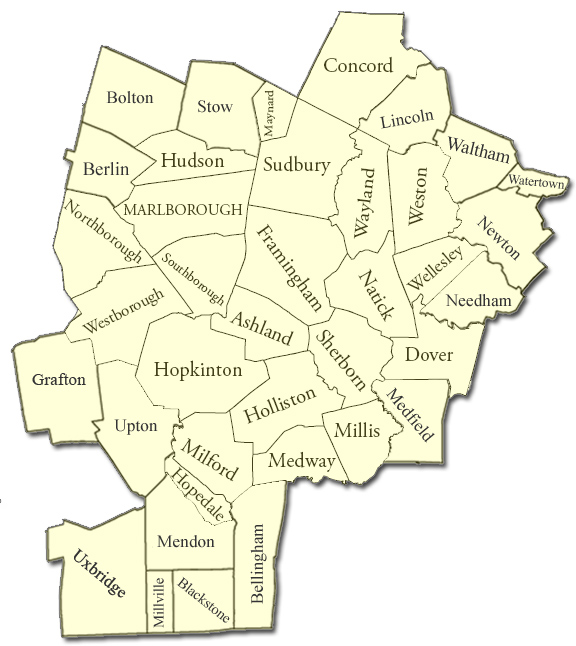 Metrowest Heating Oil Delivery Service Area Map